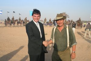 Kelvin Crombie with Ambassador James Larsen at 2007 re-enactment in Beersheba